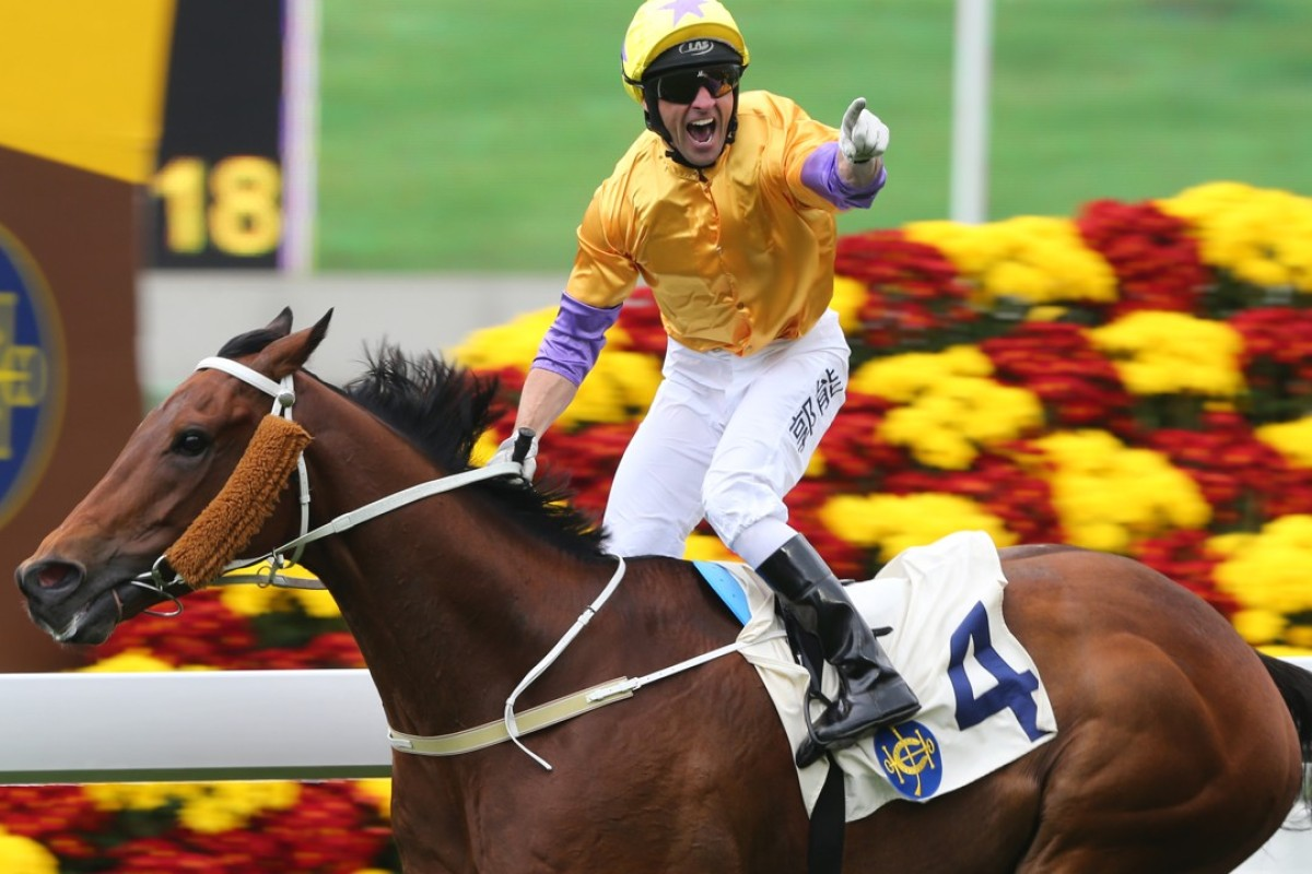 Neil Callan salutes as Peniaphobia takes out the Group Two Centenary Sprint Cup in January. Photos: Kenneth Chan
