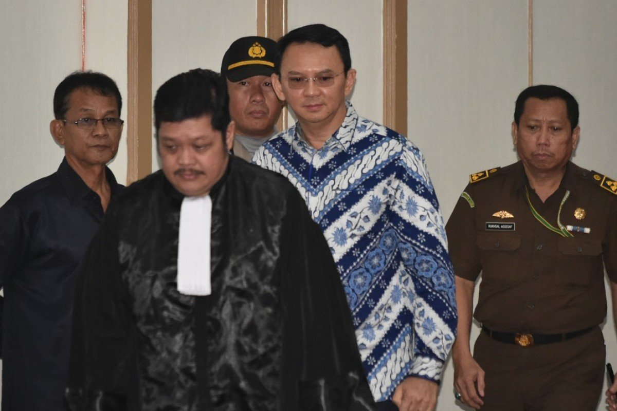Jakarta's Christian governor Basuki Purnama, popularly known as Ahok, arrives at a court in Jakarta for his verdict and sentence. Photo: AFP