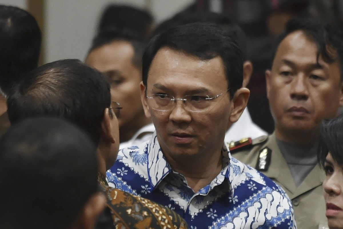 Jakarta's governor Basuki Tjahaja Purnama, popularly known as Ahok, at his sentencing. Photo: EPA
