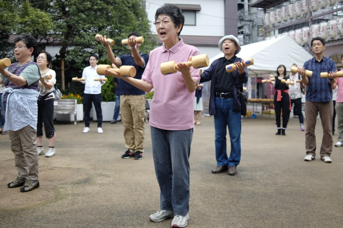 Elderly Japanese work out in a Tokyo park. Photo: AFP