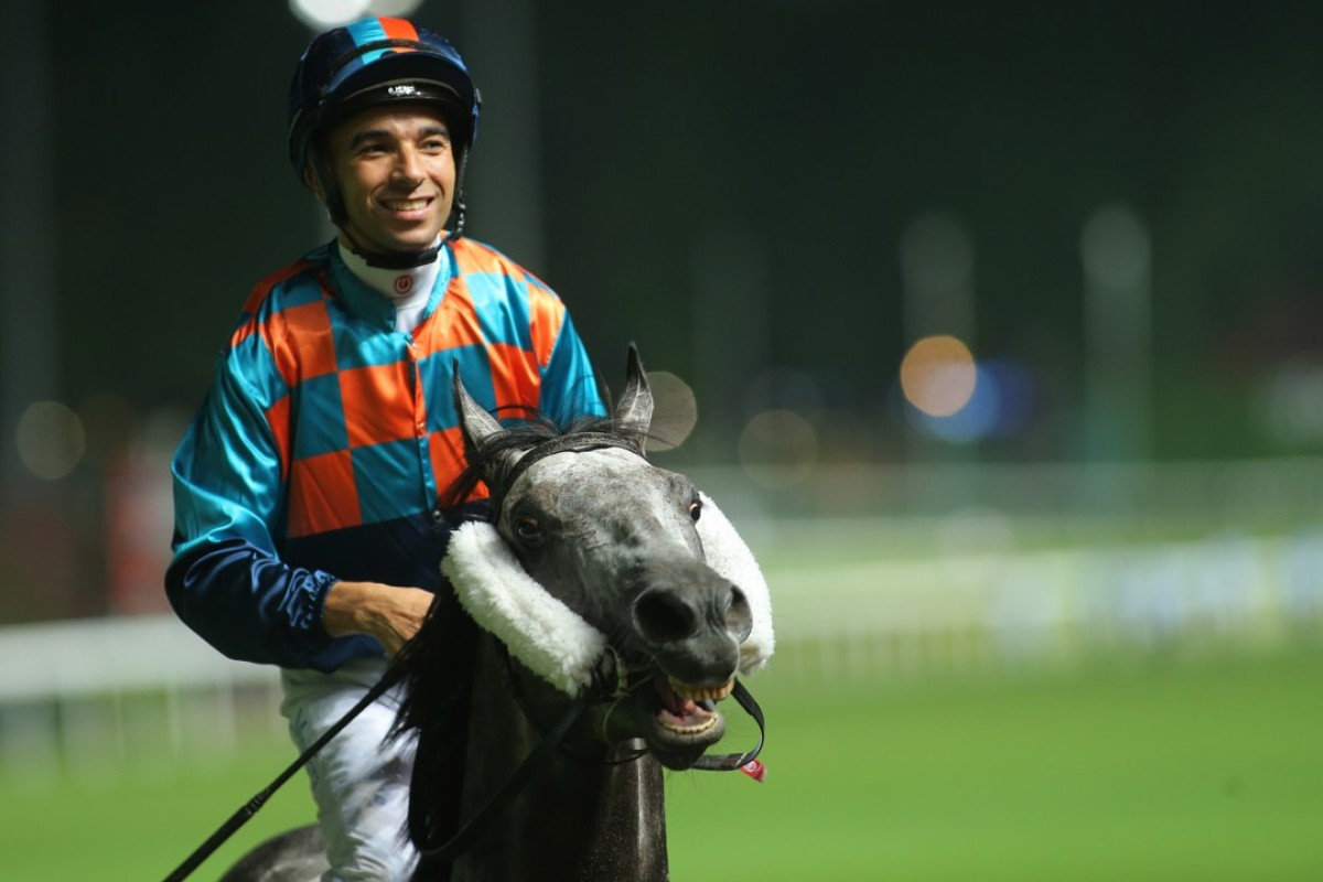 Joao Moreira and Super Turbo return to scale after winning at Happy Valley on Wednesday night. Photos: Kenneth Chan