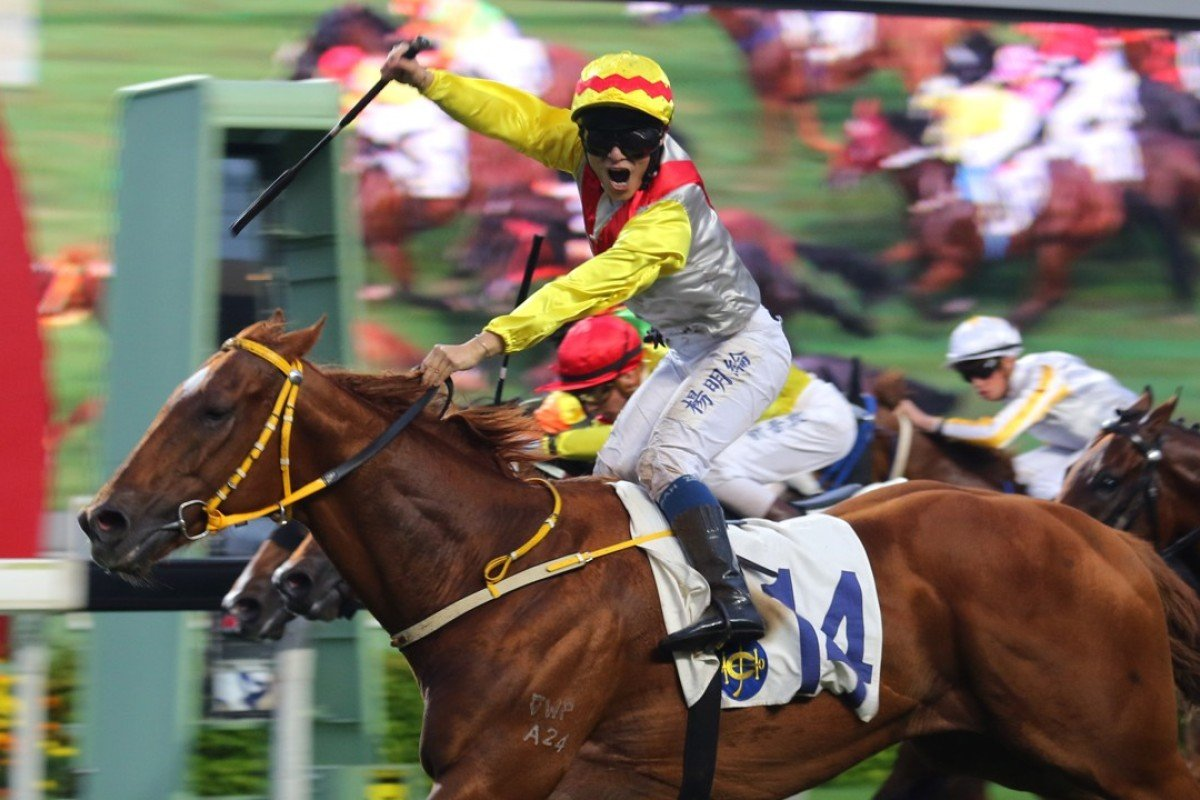 Keith Yeung celebrates for the camera as Keen Venture storms over the top to win at Sha Tin on Sunday. Photos: Kenneth Chan