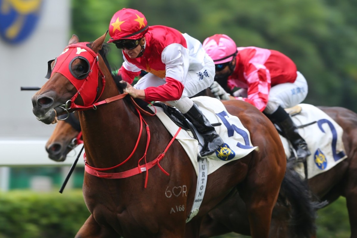Zac Purton guides Chung Wah Spirit to victory at Sha Tin on Sunday, the Australian's 700th winner in Hong Kong. Photos: Kenneth Chan