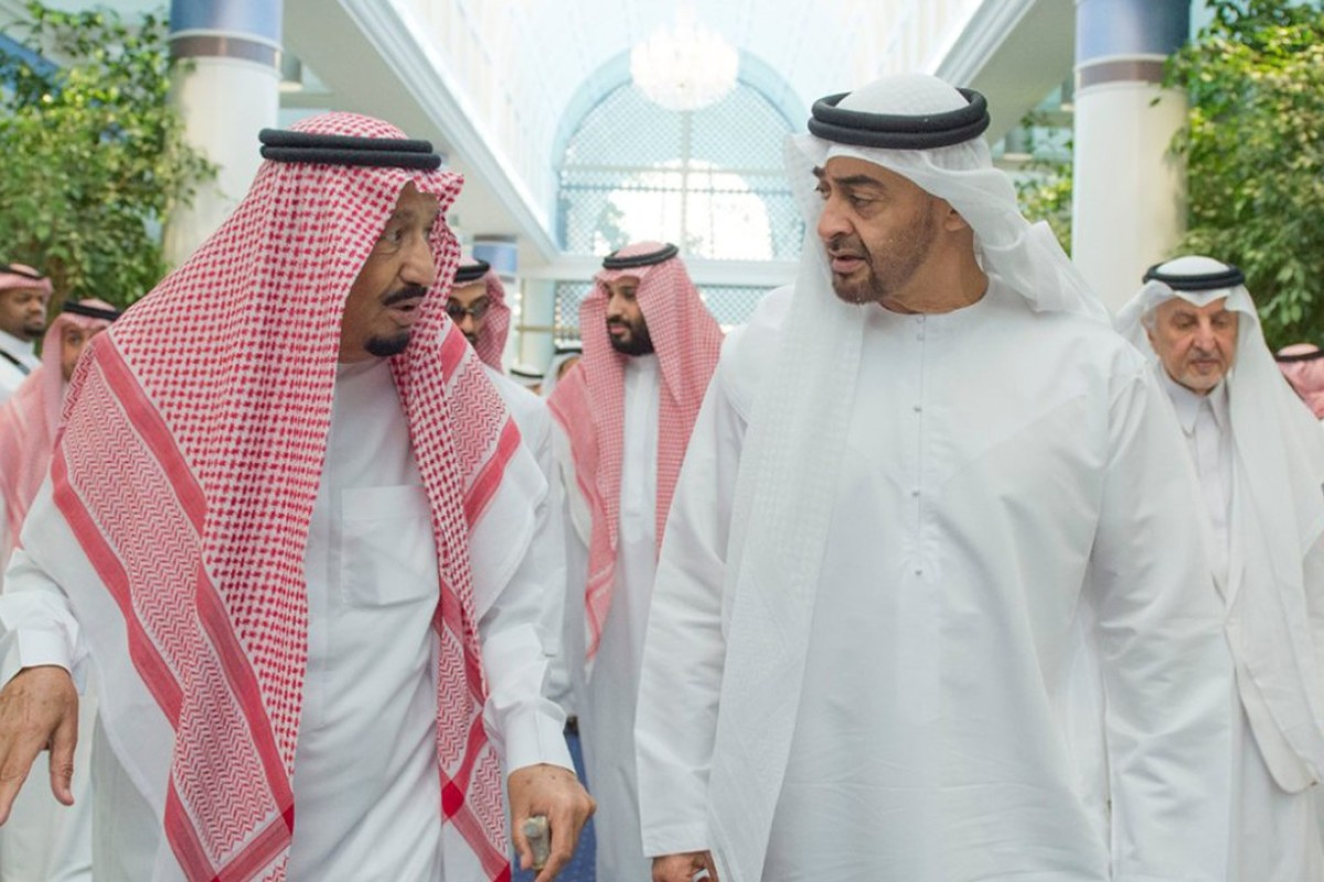 Saudi King Salman bin Abdulaziz Al Saud, left, talks to Sheikh Mohammed bin Zayed Al Nahyan, Abu Dhabi's Crown Prince and Deputy Commander in Chief of the Emirates Armed Forces in Jiddah, Saudi Arabia. Photo: AP