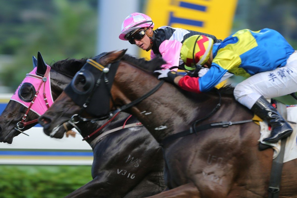 Zac Purton and Go Beauty Go narrowly beat Smiling Charm in the last race at Sha Tin on Sunday. Photos: Kenneth Chan