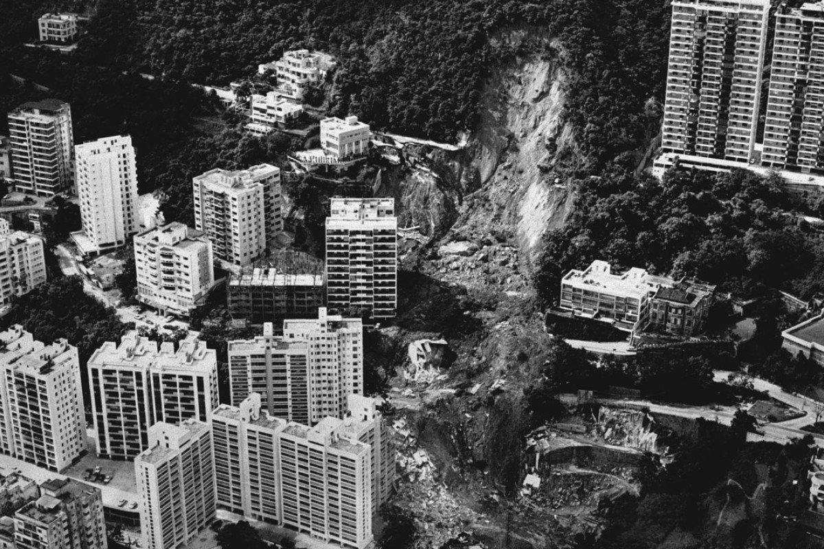 The site where the 12-storey Kotewall Court toppled after a downpour on June 18, 1972. Pictures: SCMP