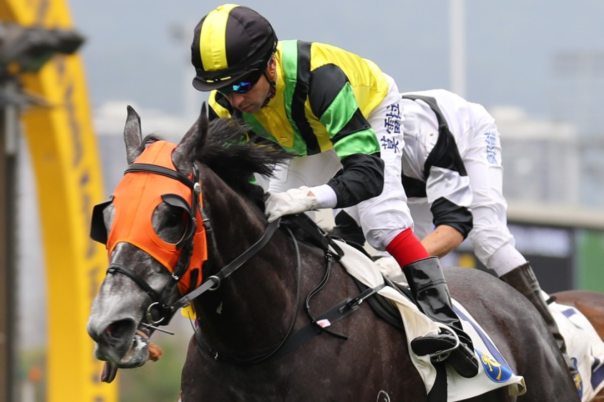 Joao Moreria guides Dragon General to victory at Sha Tin in March. Photo: Kenneth Chan
