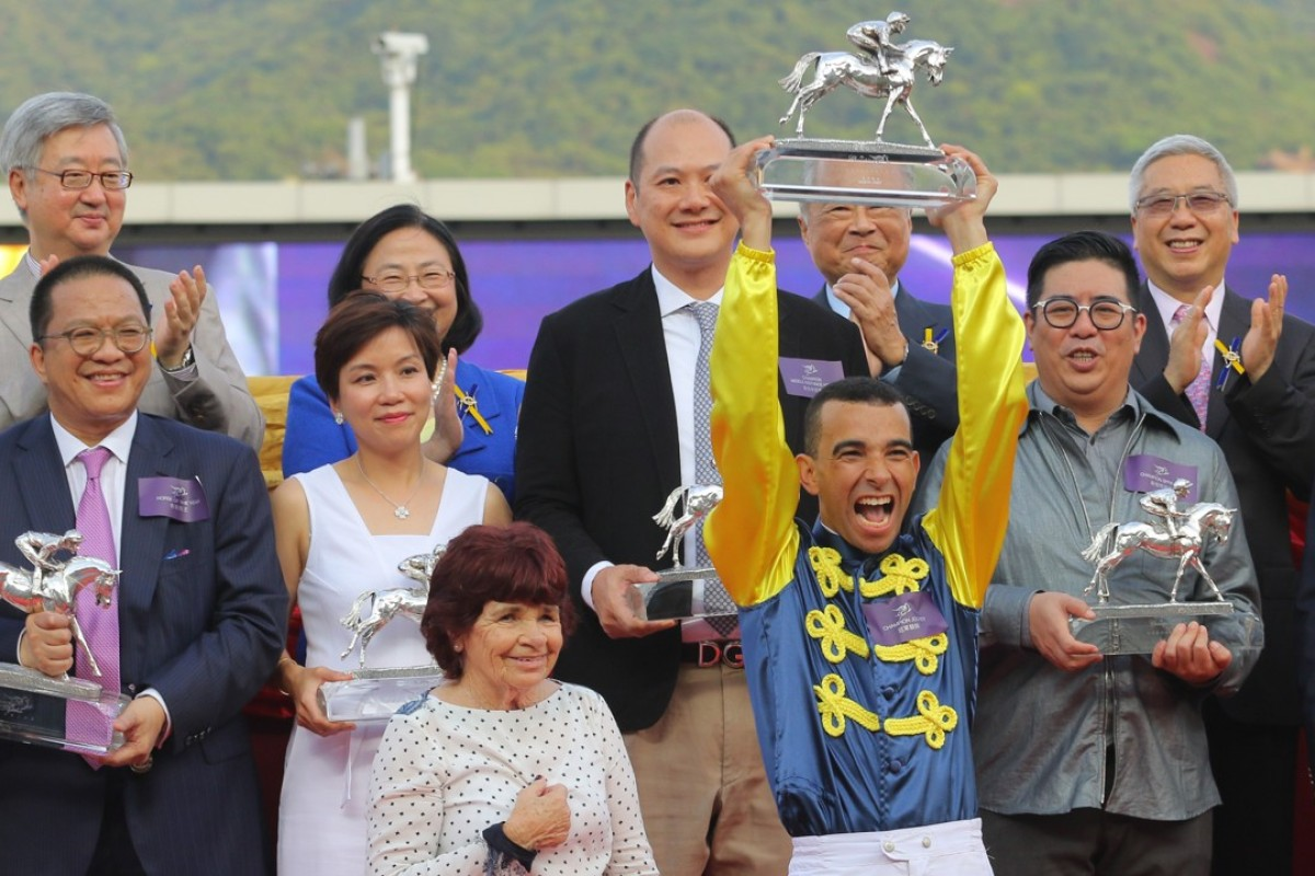 Joao Moreira celebrates his 2015-16 jockeys' championship. Photos: Kenneth Chan.
