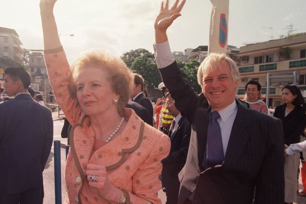 Lady Margaret Thatcher waved hello to Hong Kong people during her visit to the Tin Hau Temple