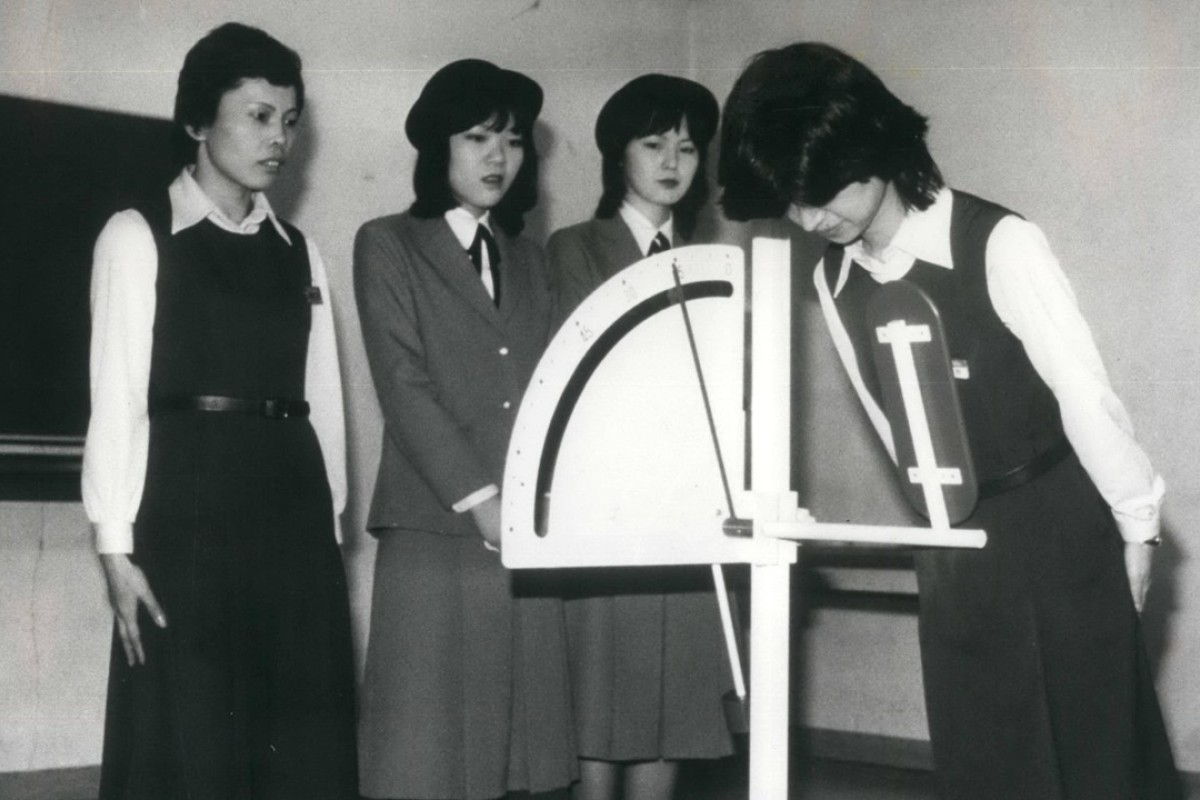 A device to assist in training young Japanese to bow at the correct angle. Picture: Alamy