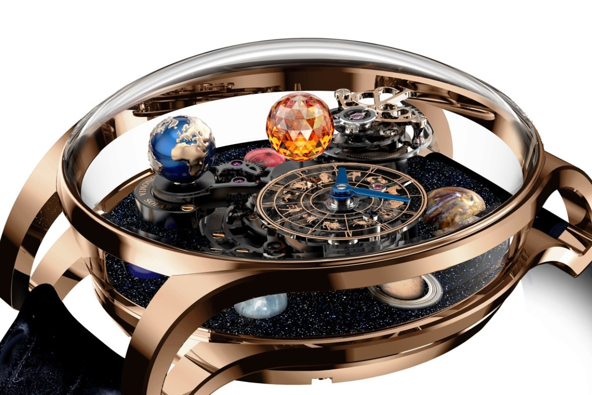 JACOB & CO. The Astronomia Solar depicts the eight planets of our solar system. A single piece of sapphire crystal sits in the middle of the case, and the watch features double anti-reflective treatment, HK$2.18 million