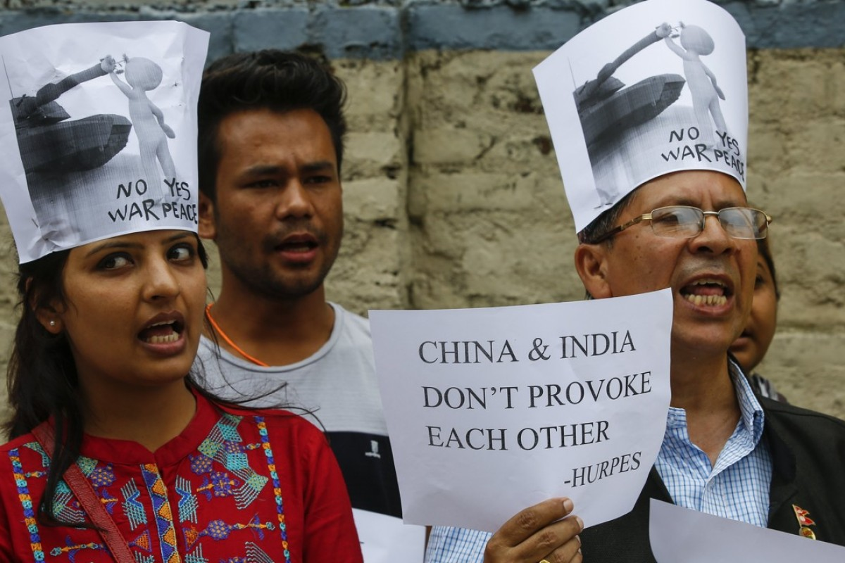 Nepalese human rights activists protest in front of the Chinese Embassy in Kathmandu over the growing tension between China and India. Photo: EPA