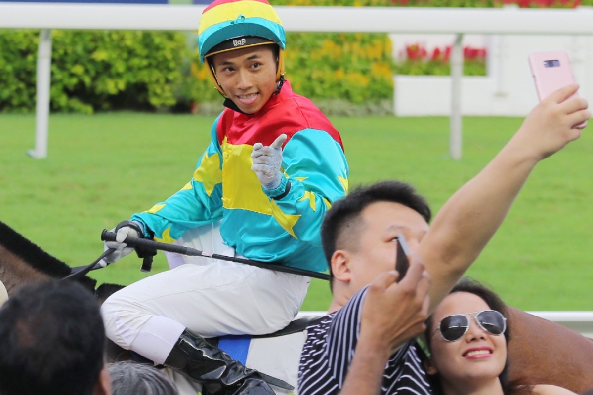 Matthew Poon poses for a selfie after winning the final race of the season with Solar Hei Hei. Photos: Kenneth Chan