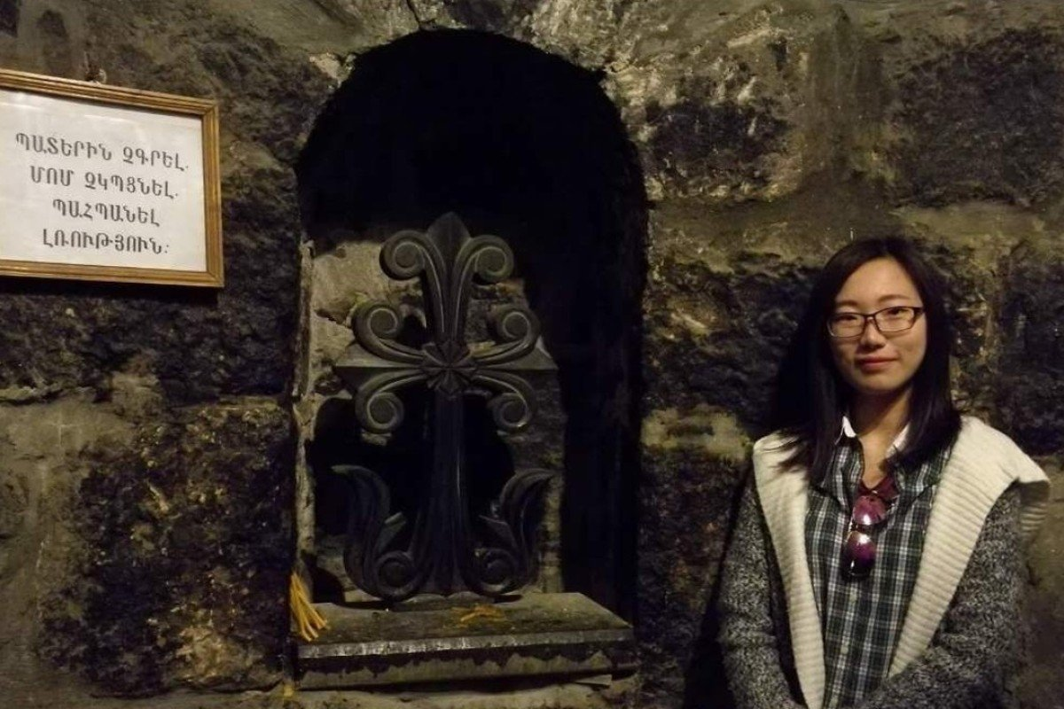 He Yang, a Chinese student learning Armenian in Yerevan, visits Khor Virap monastery. Handout photo