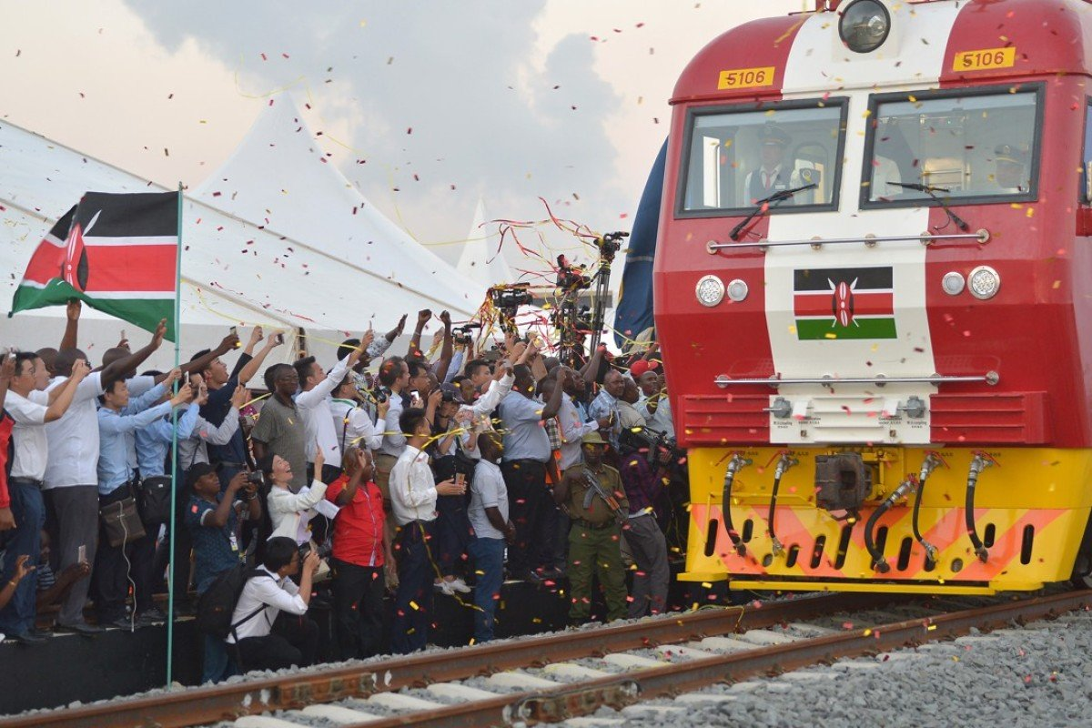 A cargo train sets off on its inaugural journey from Mombasa to Nairobi on the new Chinese-built line. Picture: AFP
