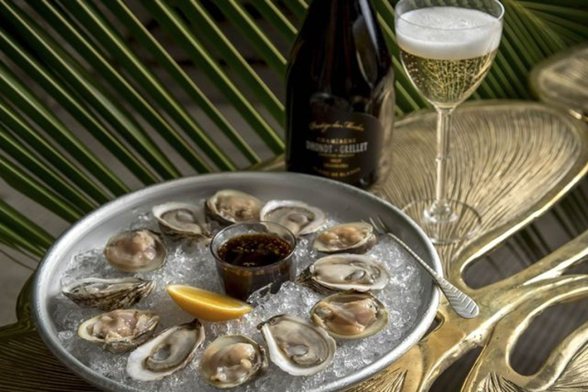 One of the more traditional Champagne pairings—oysters—at Air's Champagne Parlor in New York.