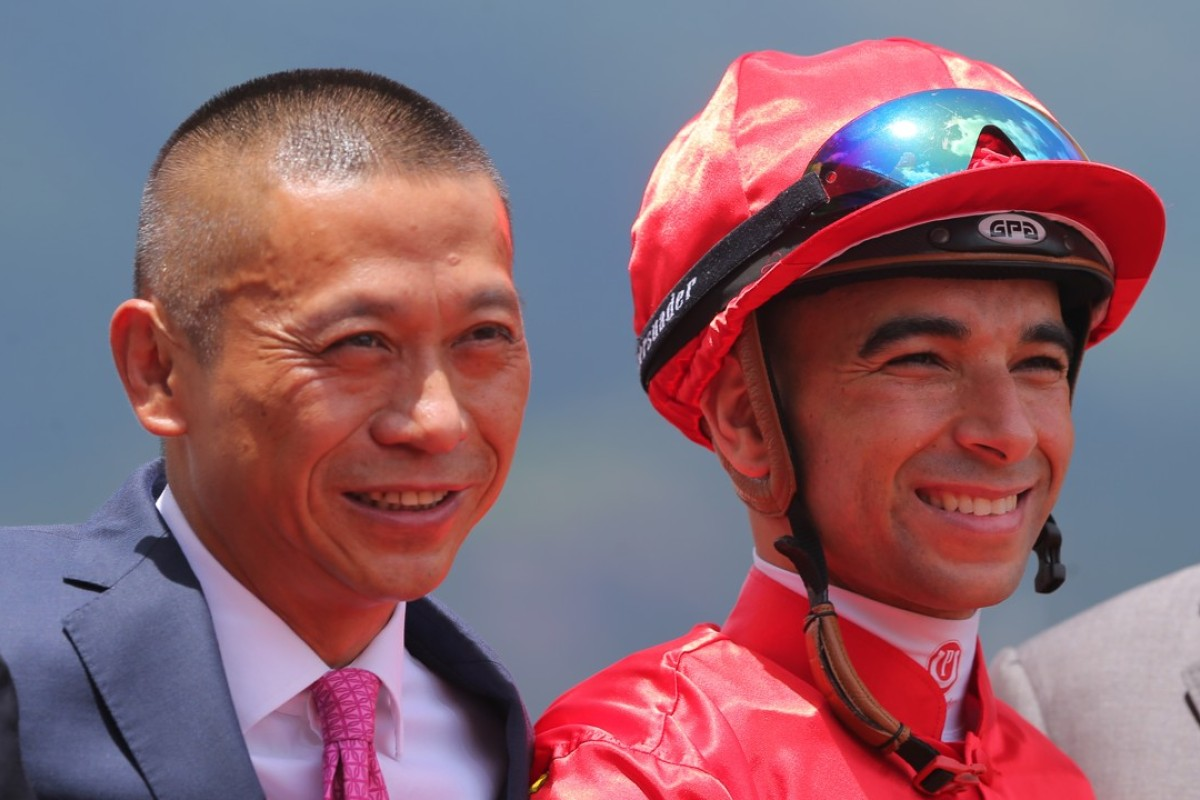 Danny Shum Chap-shing and Joao Moreira after Travel Emperor's debut win. Photos: Kenneth Chan.