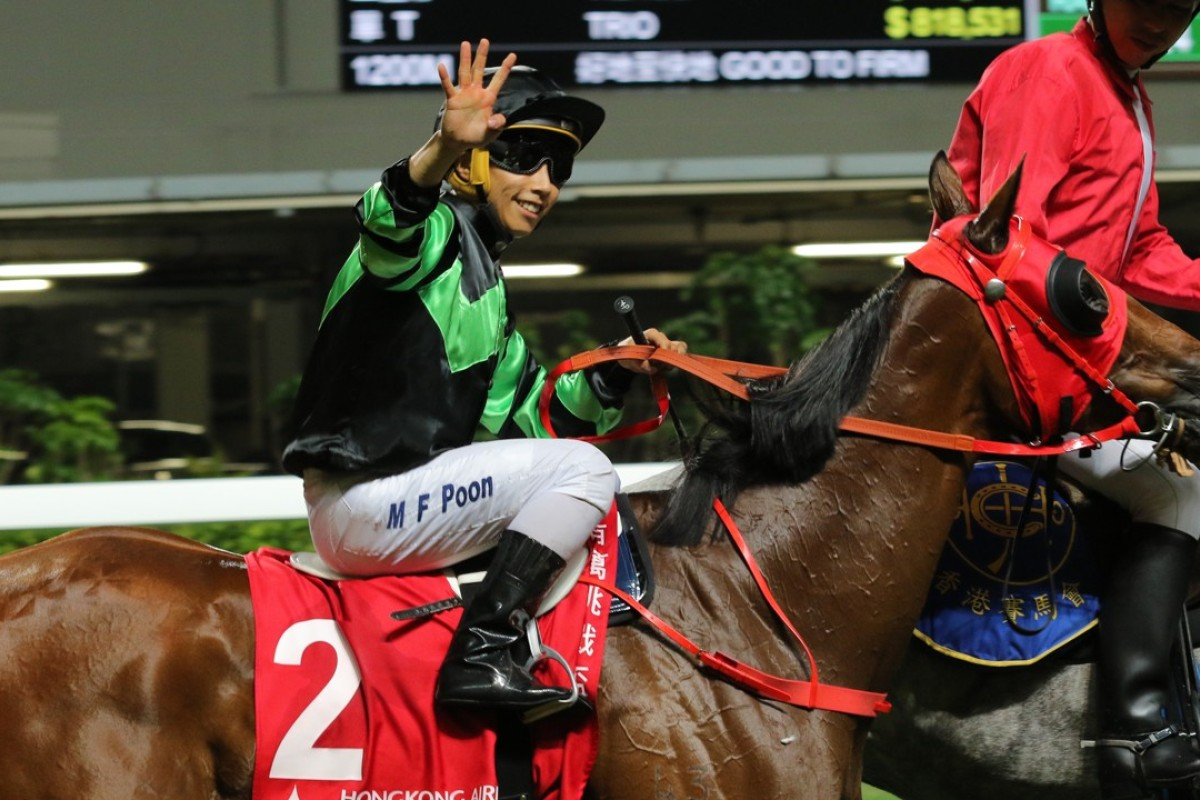 Matthew Poon celebrates his fourth winner of the night at Happy Valley. Photos: Kenneth Chan
