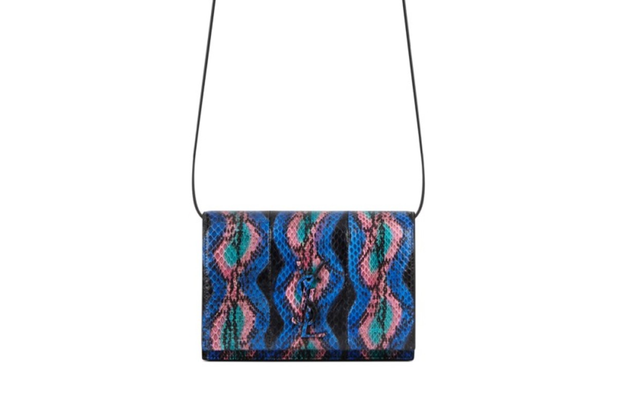 Saint Laurent. The brand's monogram bag, in multicoloured and layered leather, features an adjustable shoulder strap and a signature YSL logo, HK$13,900
