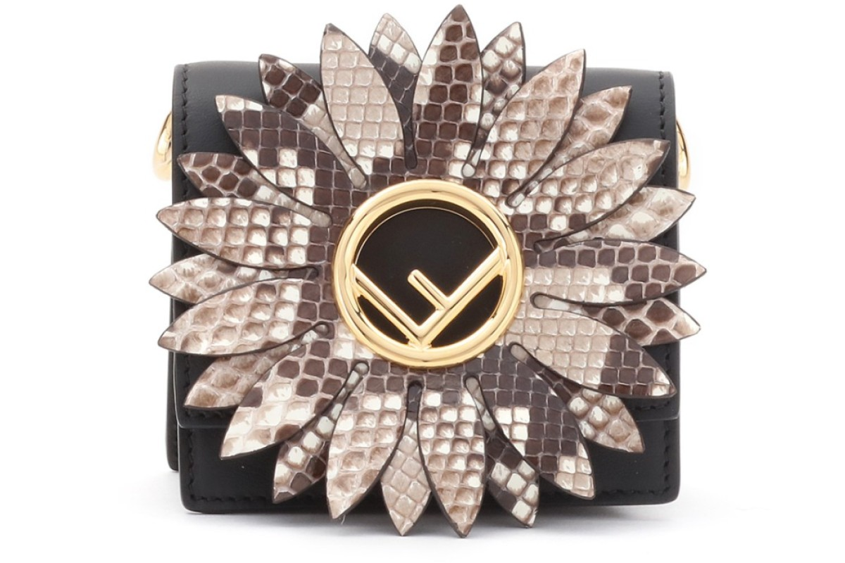 """Fendi. This leather shoulder bag with a python cutout daisy motif features the signature """"F"""" logo at the centre, HK$9,500"""