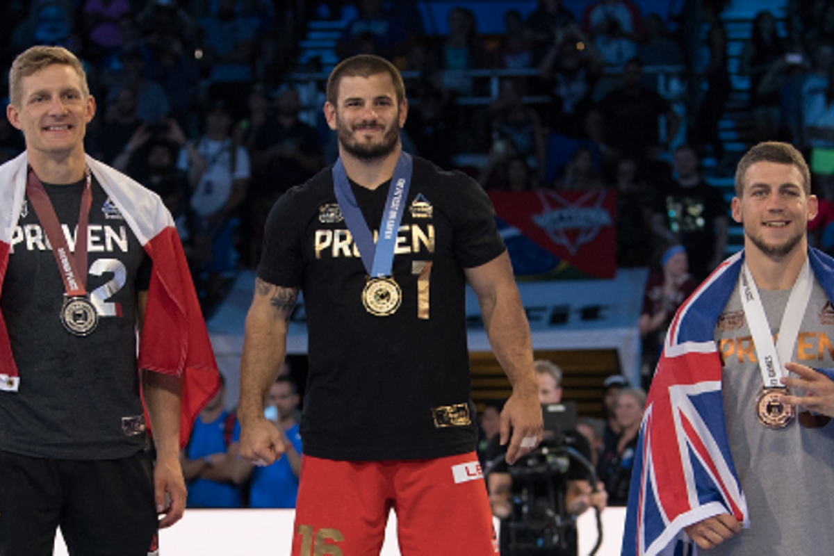 Ricky Garard (right) finished third to Mat Fraser (middle) and Brent Fikowski at the CrossFit Games. Garard tested positive, but claims that others are cheating as well. Photo: CrossFit Games Instagram