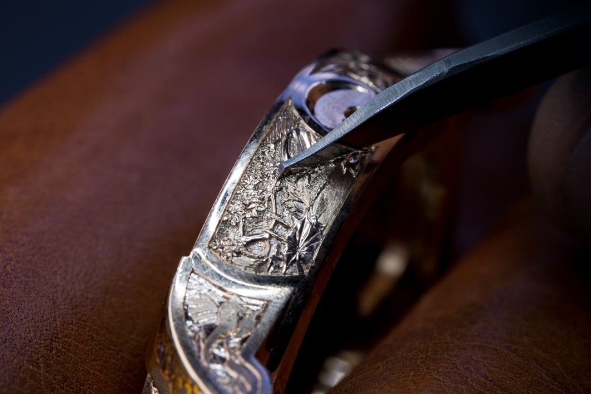 The hand-engraved middle band of the Tropical Bird Repeater watch by Swiss watchmaker Jaquet Droz.