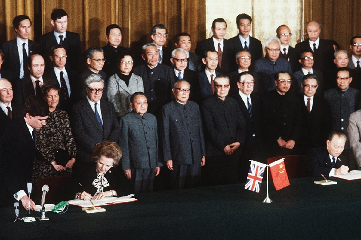 British prime minister Margaret Thatcher (seated left) and Chinese premier Zhao Ziyang (seated right) sign the Sino-British Joint Declaration, on Hong Kong in Beijing, in December 1984. Picture: Xinhua