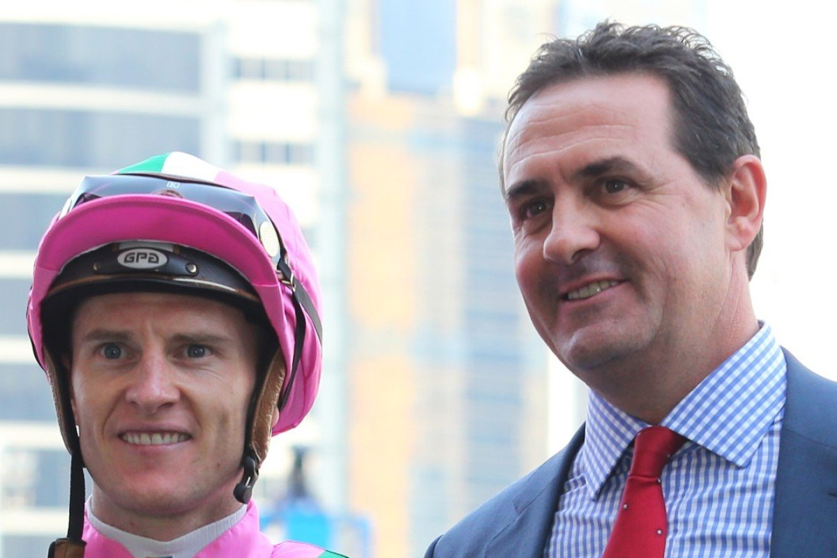 Zac Purton and Michael Freedman after Fortune Booth's win.