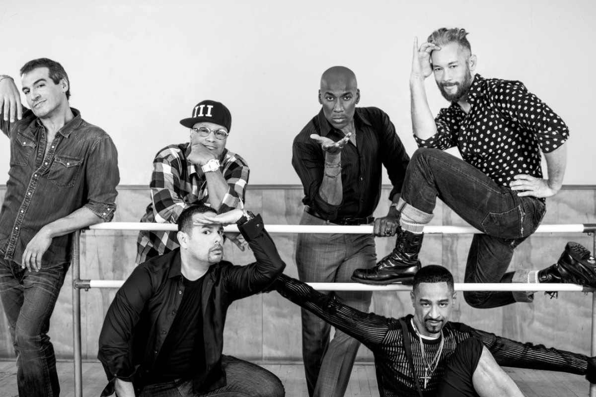 A still from Strike a Pose, to be screened at the upcoming Jumping Frames International Dance Video Festival. From left: Salim Gauwloos, Jose Gutierez, Oliver Crumes, Carlton Wilborn, Luis Camacho and Kevin Stea.
