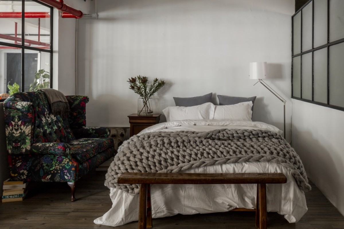 The bedroom of the 2,600 sq ft space designed by Vince Lim and Elaine Manzi Lu. Styling: Shana Buchanan. Photography and video: John Butlin. Photo assistant: Timothy Tsang