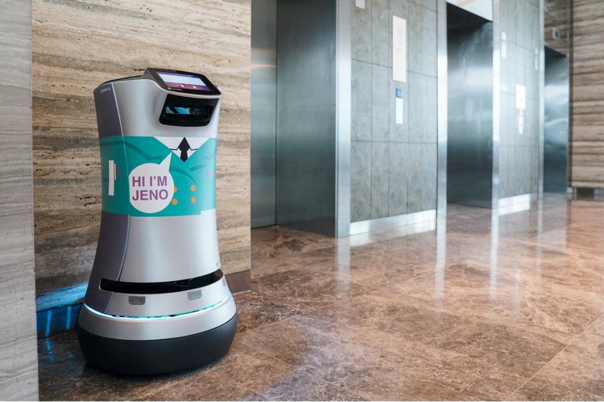 Jeno, a Relay robot, parked at his docking station in the lobby of Hotel Jen Orchardgateway in Singapore.