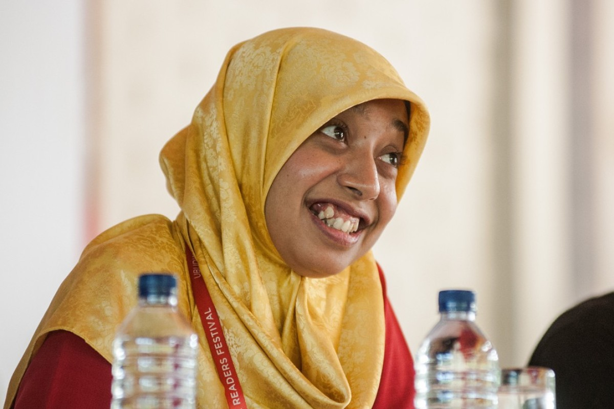 Indonesia's first female Muslim stand-up comedian Sakdiyah Ma'ruf at Ubud Writers & Readers Festival. Photo: Handout