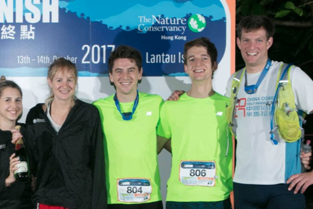 Charlie Landale (right), pictured at the finish line of the Moontrekker in October, will be taking on the Oxfam Trailwalker with colleagues from Jardines. Photo: Barclays Moontrekker