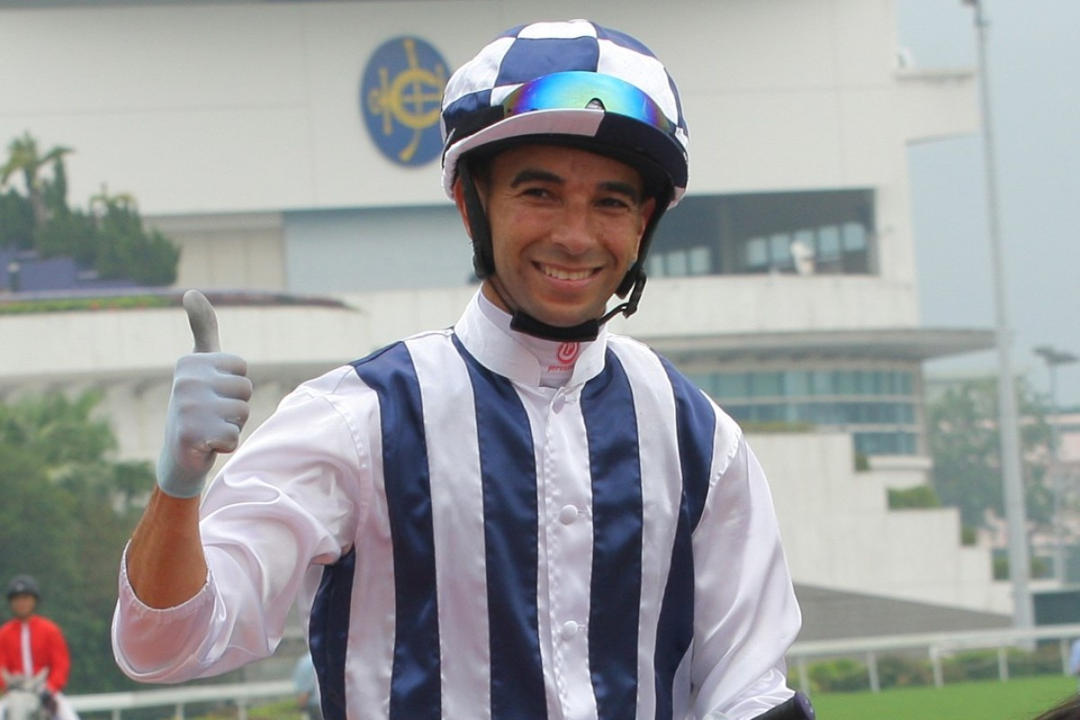 Joao Moreira after winning the Chief Executive's Cup on opening day. Photos: Kenneth Chan.