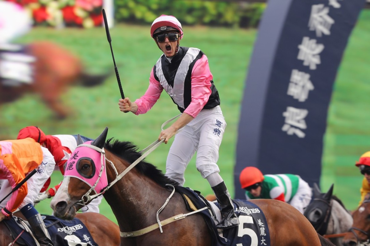 Zac Purton celebrates as Beauty Only takes out the 2016 Longines Hong Kong Mile. Photos: Kenneth Chan