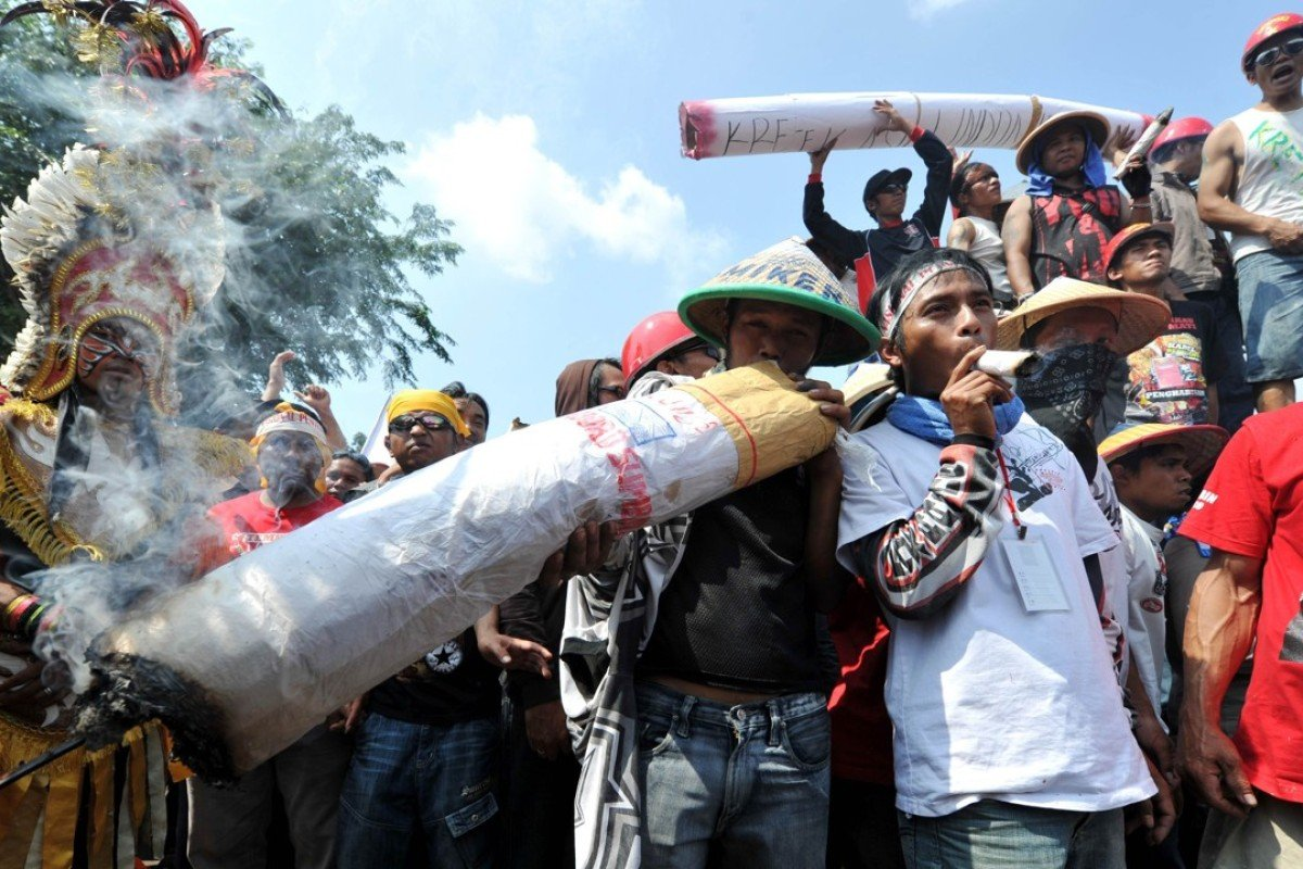 Indonesian tobacco farmers protest against plans to restrict tobacco use. Photo: AFP