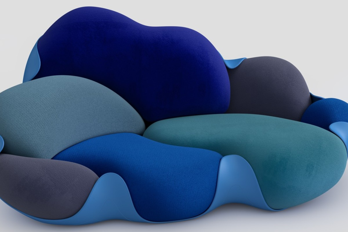 The Bomboca Sofa features eight removable cushions arranged in a rigid, leather-covered shell.