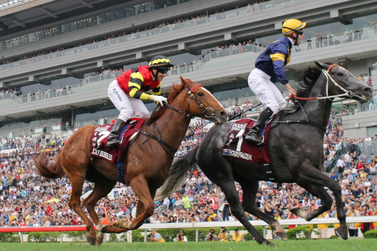 Chautauqua (Tommy Berry) wins the 2016 Chairman's Sprint Prize at Sha Tin, a leg of the Global Sprint Challenge. Photo: Kenneth Chan