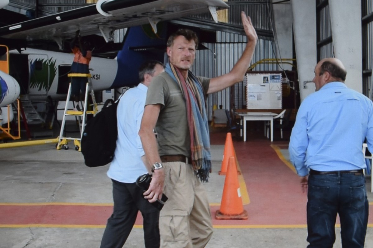 Benedict Allen didn't look all that malaria-stricken when he arrived in Mount Hagen after his flight from a jungle airstrip. Picture: Red Door News