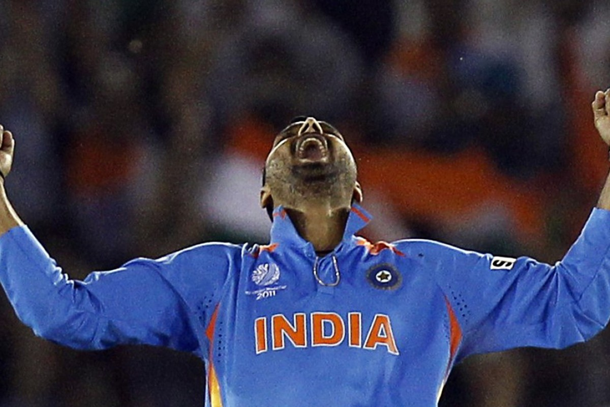 India's Harbhajan Singh celebrates during the 2011 Cricket World Cup. Photo: Reuters