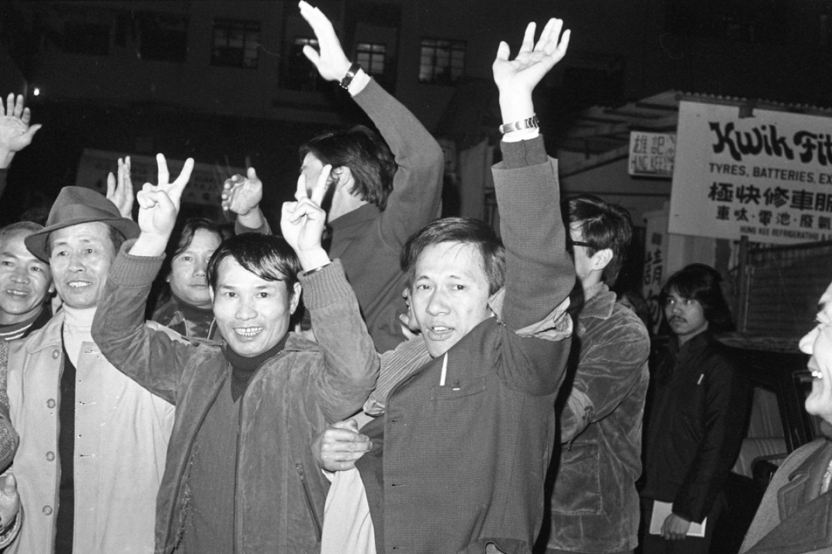Mafoos celebrate the resignation of Eileen Stringer, personnel manager of the Royal Hong Kong Jockey Club, in January 1978. Pictures: SCMP