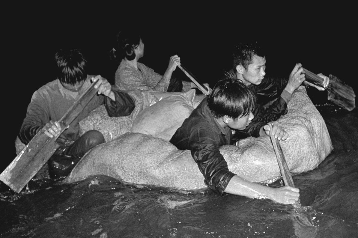 """""""Freedom swimmers"""" flee the Cultural Revolution in China for Hong Kong in the 1960s."""