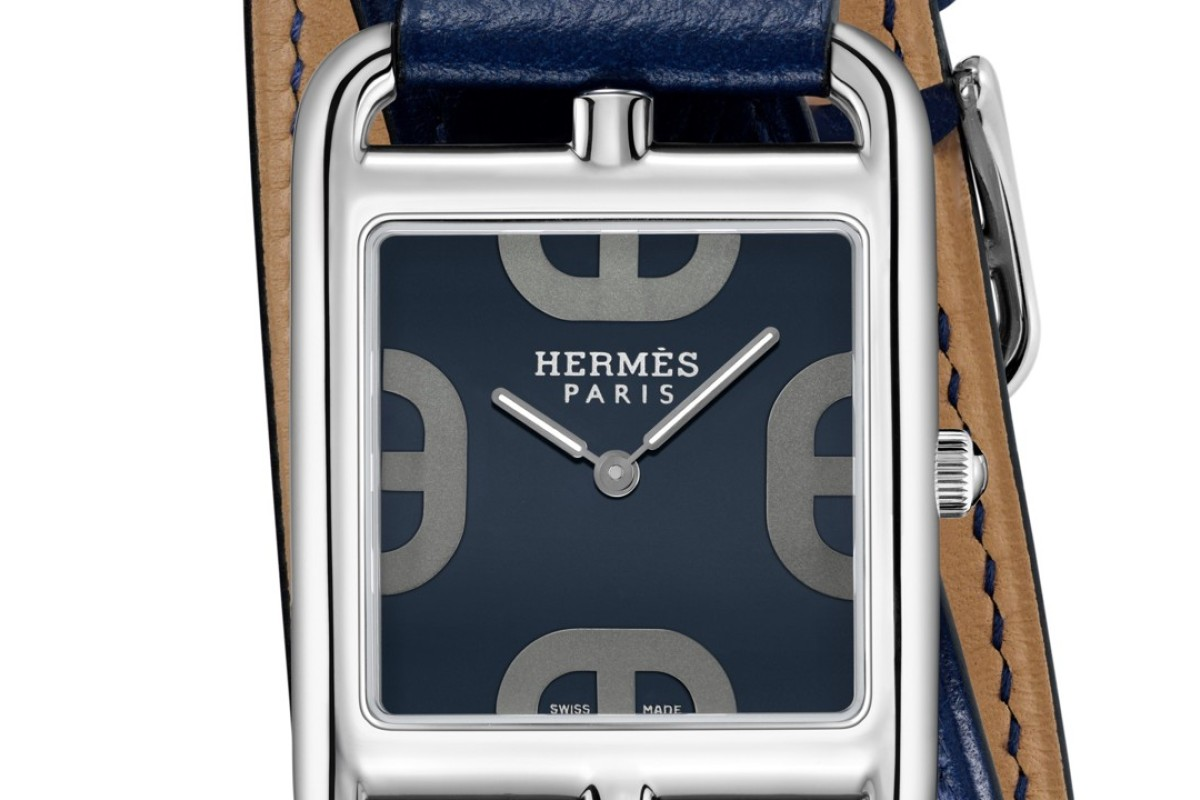 "Hermès Cape Cod's ""Anchor Chain"" motif on dial with a double tour Malta blue strap"
