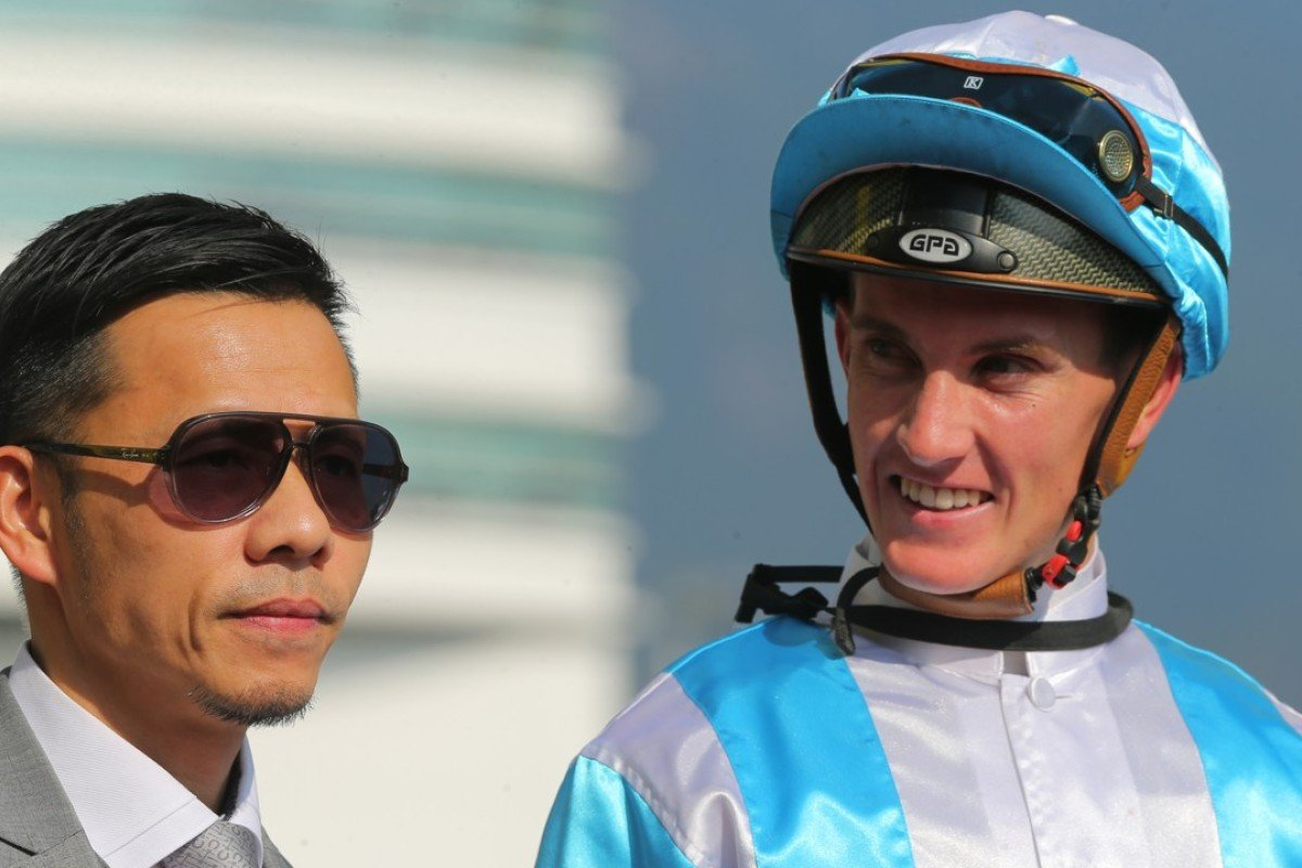 Frankie Lor and Chad Schofield after Furious Pegasus' last win. Photo: Kenneth Chan.