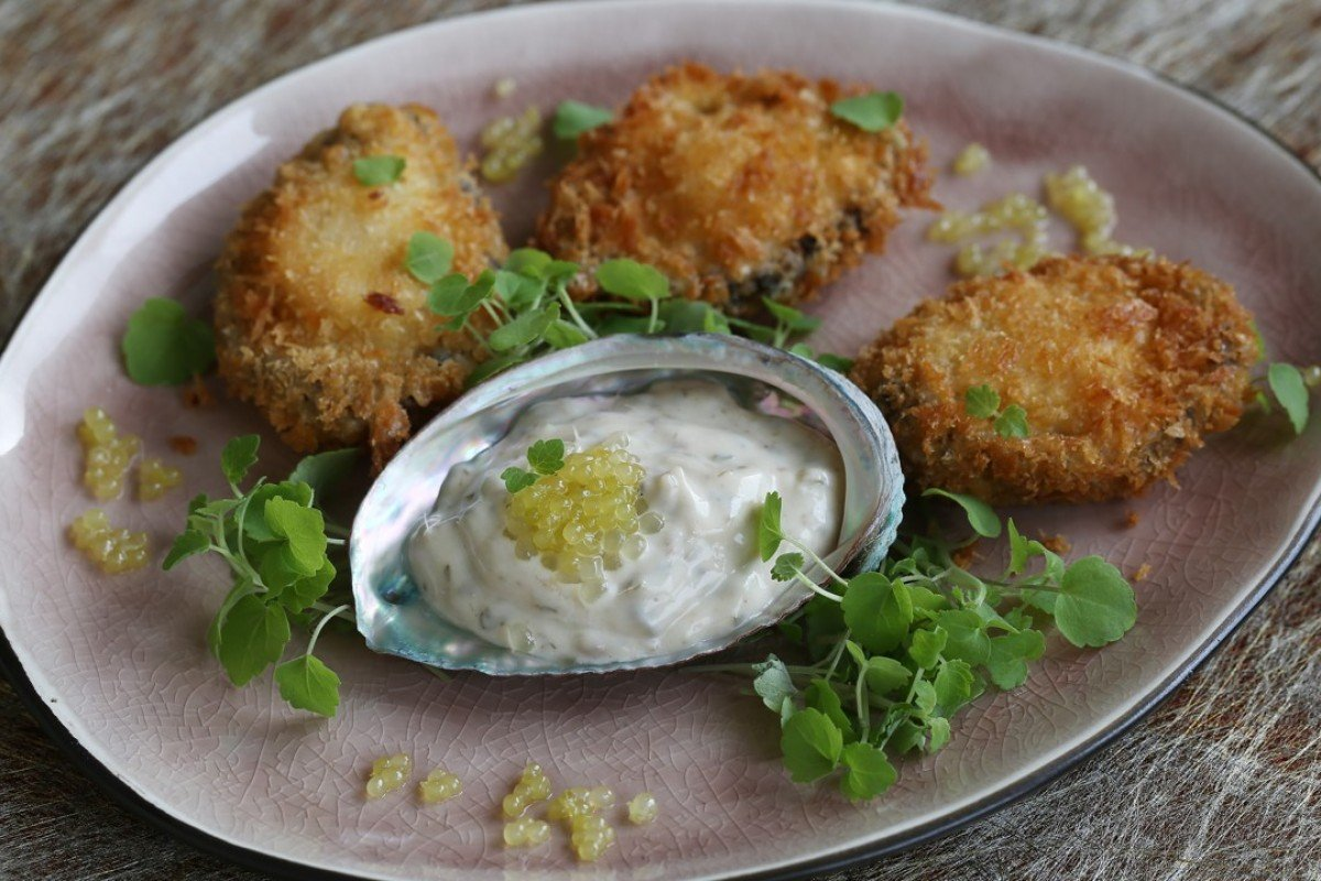 Fresh abalone schnitzel with anchovy and caper mayonnaise. Photography: Jonathan Wong. Styling: Nellie Ming Lee
