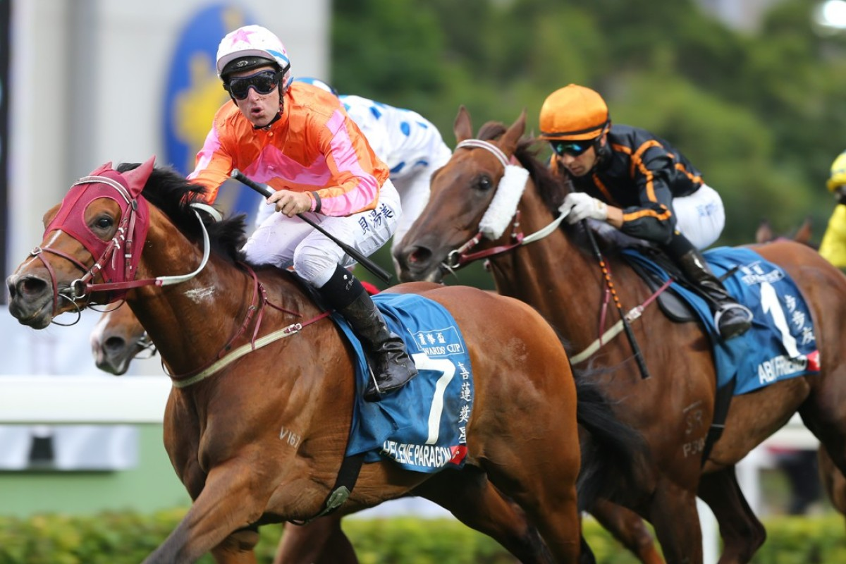 Tommy Berry celebrates Helene Paragon's Stewards' Cup victory last year. Photos: Kenneth Chan