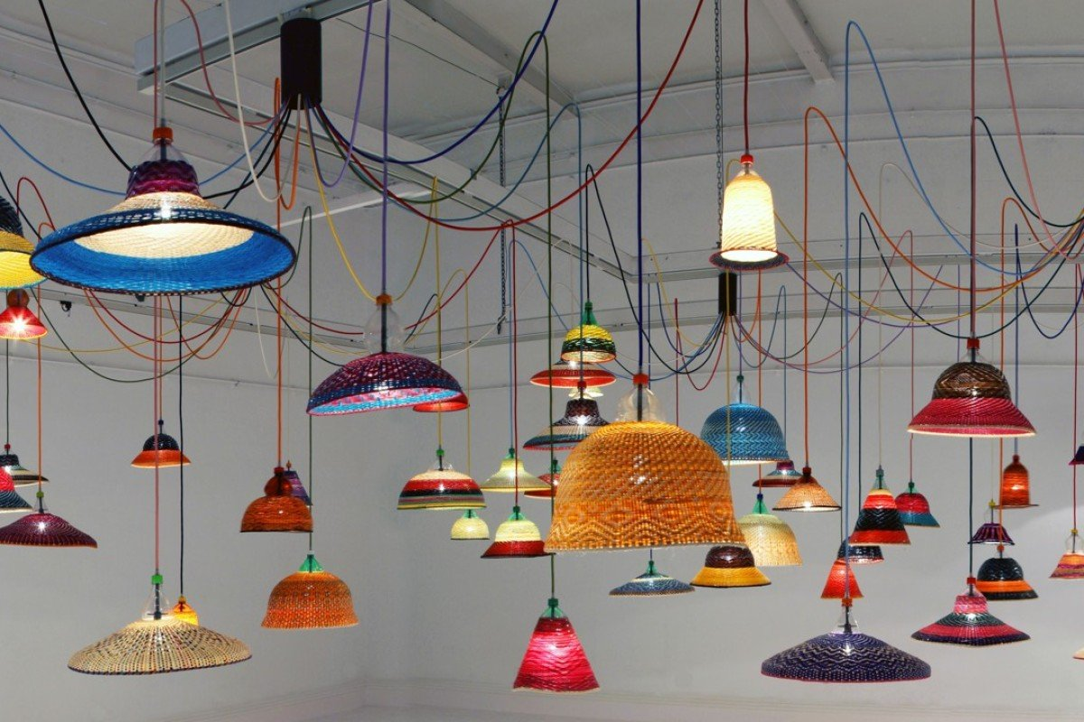PET Lamps, by Alvaro Catalán de Ocón, made from recycled plastic bottles.