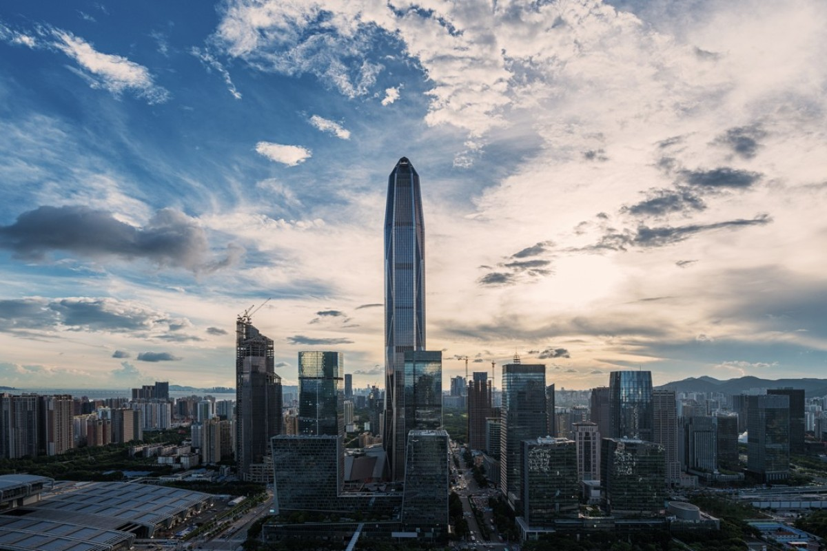 Futian, Shenzhen, at dusk with the Ping An International Finance Centre tower in the background.