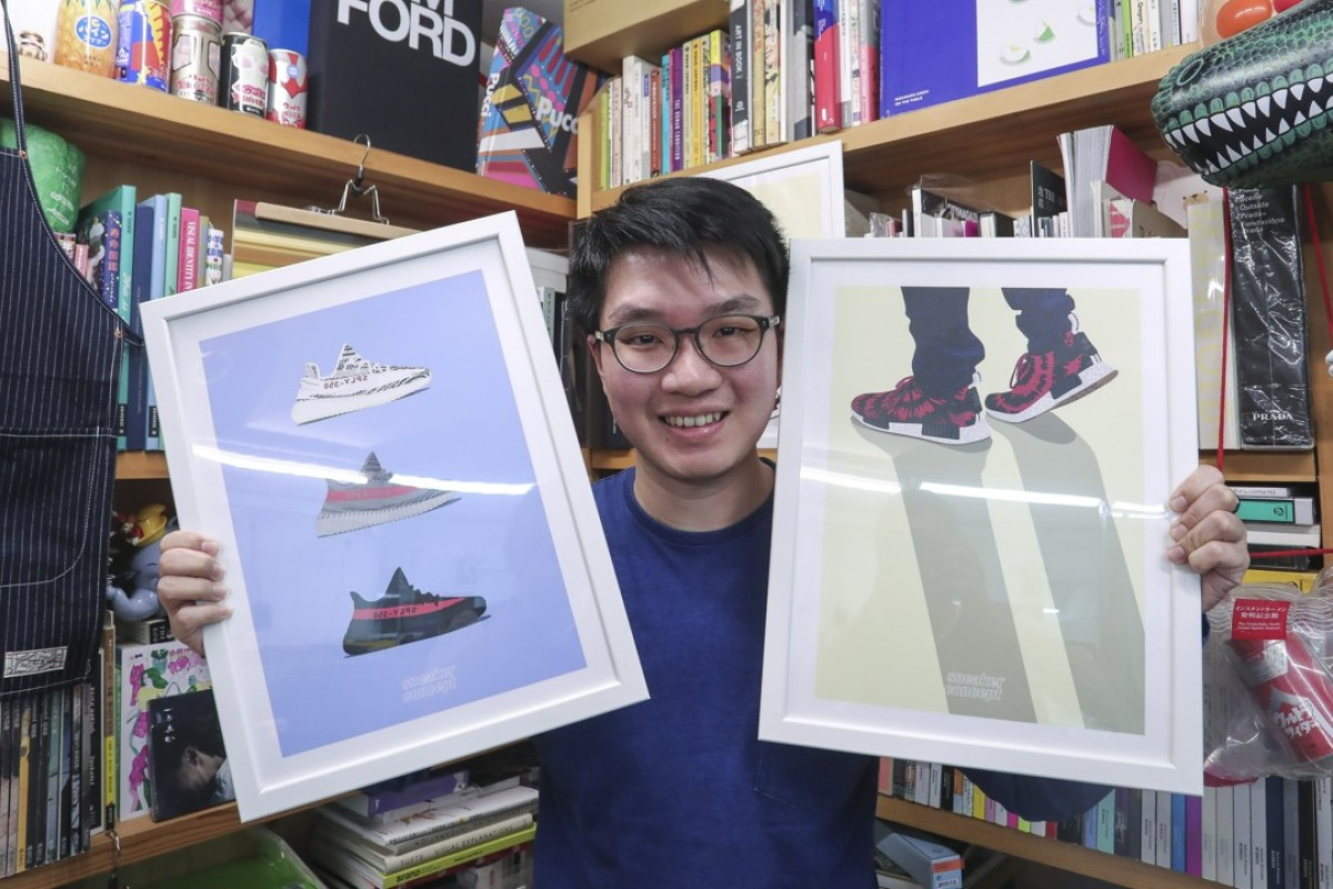 Illustrator Stanley Wong with his sneaker print illustrations. Picture: Jonathan Wong