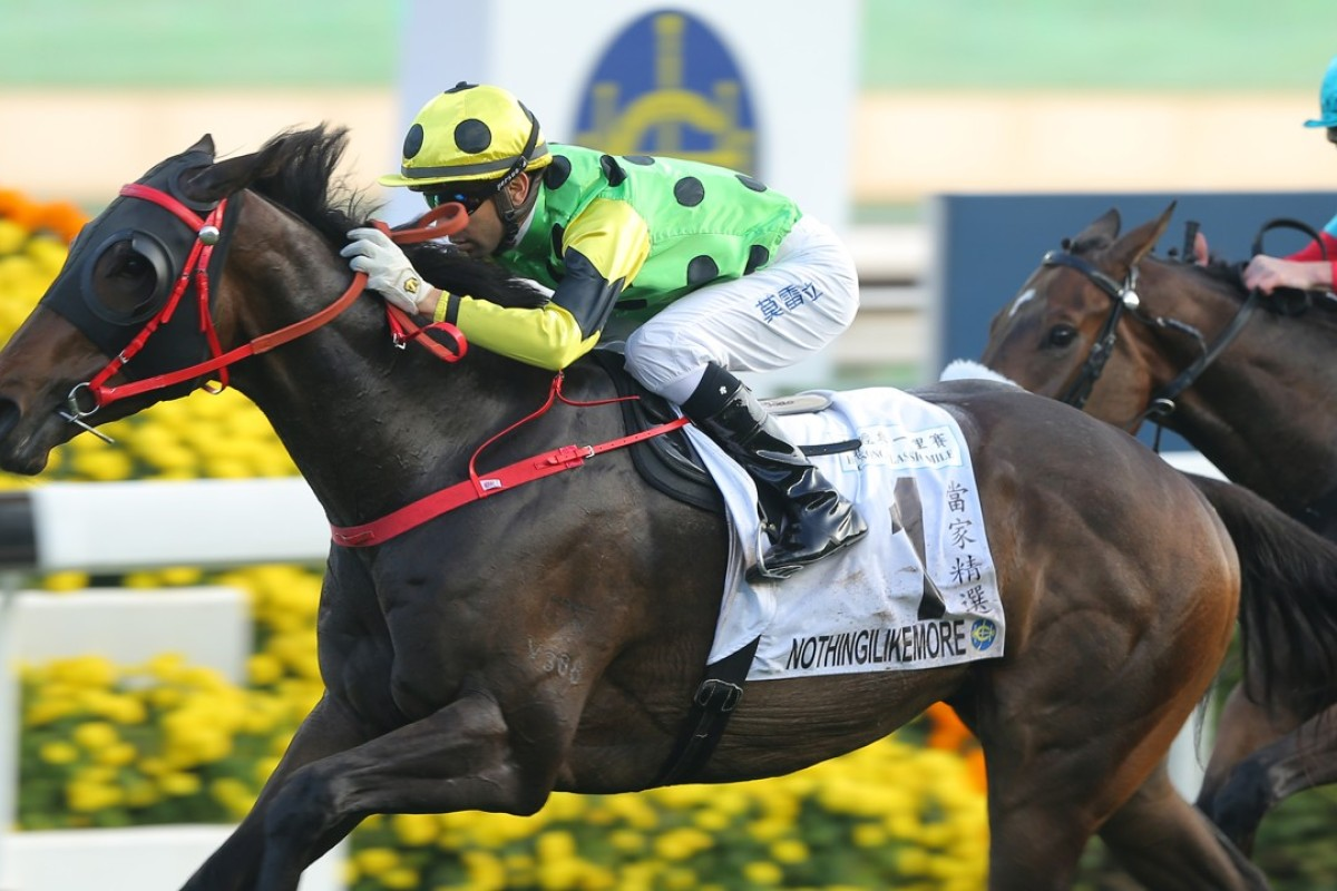 Nothingilikemore wins the Classic Mile. Photos: Kenneth Chan